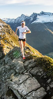 Emelie Forsberg at the mountain peak Romsdalseggen in Norway