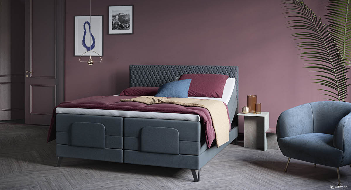 Wonderland 532 and 733 Adjustable bed with Harlequin Headboard. Textile: River.