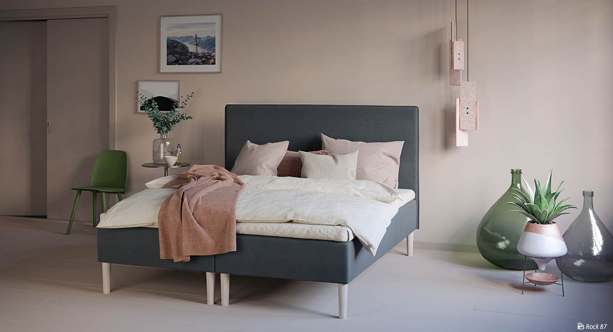 Wonderland Boxspring with W200 Headboard. Textile: Rock